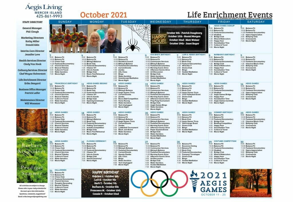 Mercer Island Calendar October 2021 Newsletter
