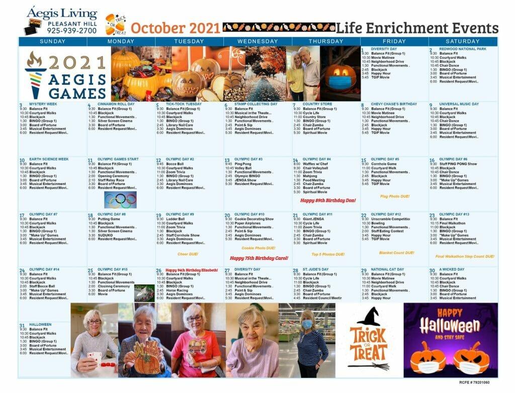 Pleasant Hill Calendar October 2021