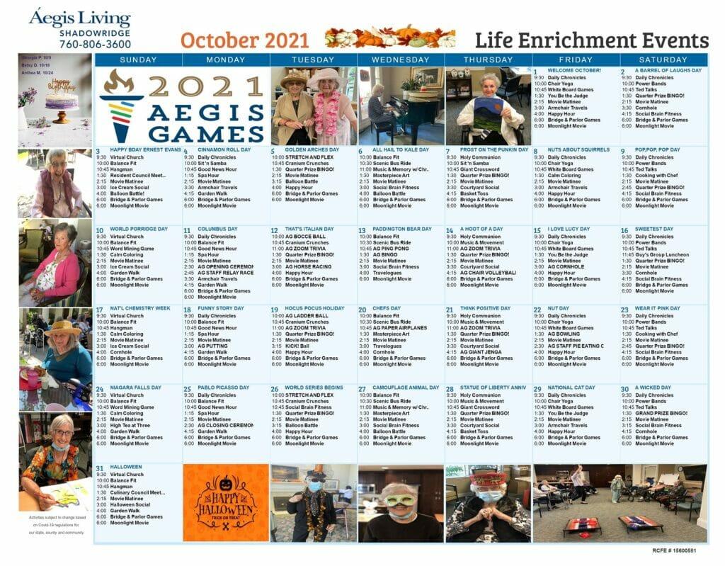 Shadowridge Calendar October 2021
