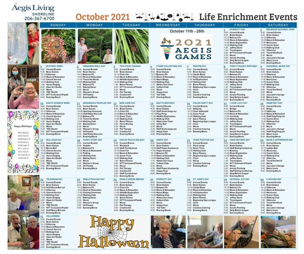 Shoreline Calendar October 2021