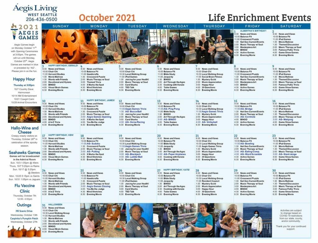 West Seattle Calendar October 2021